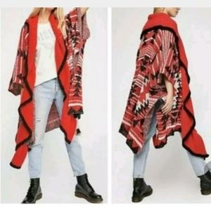 Free People Cozy Aztec Printed Open Front Cardigan